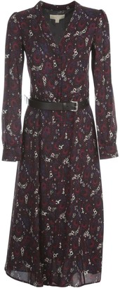 MICHAEL Michael Kors Long Dress L/s W/belt Micro Fantasy