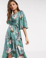 Liquorish midi wrap dress with waterfall sleeves in bird and floral print