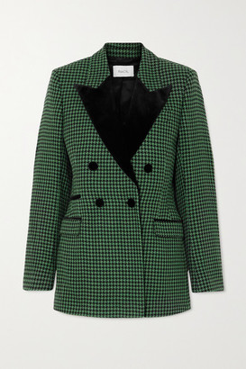 Racil Oxford Double-breasted Velvet-trimmed Houndstooth Wool-blend Tweed Blazer - Green