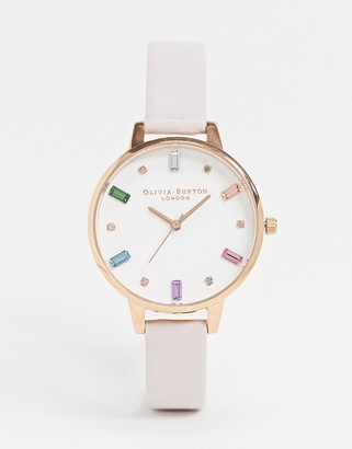 Olivia Burton Rainbow leather watch in pink