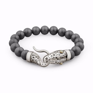 Snake Bones Snake Bracelet with Hematite Beads in Silver Gold & Diamonds