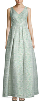 Theia Basket Weave V-Neck Full Gown