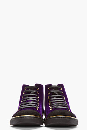 Marc Jacobs Purple Velvet Gold-Trimmed High-Top Sneakers