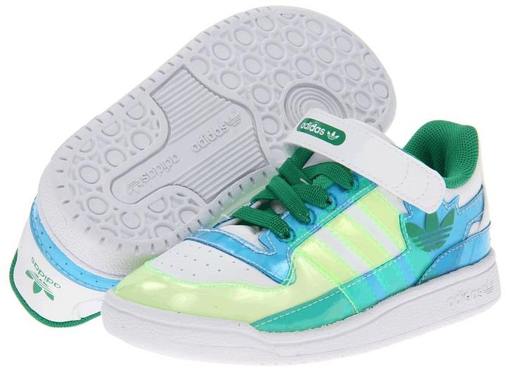 adidas Kids - Forum Lo XL (Toddler) (White/Fairway/Bluebird) - Footwear