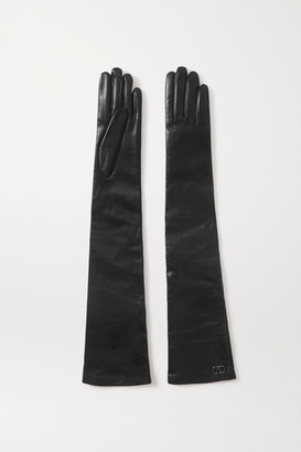 Valentino Garavani Embellished Leather Gloves - Black