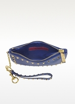 Valentino Rockstud Royal Blue Clutch with Detachable Wristlet