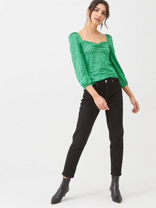 Whistles Sketched Floral Sweetheart Neck Top - Green