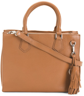 Made In Italy Leather Vachetta Multi Entry Satchel