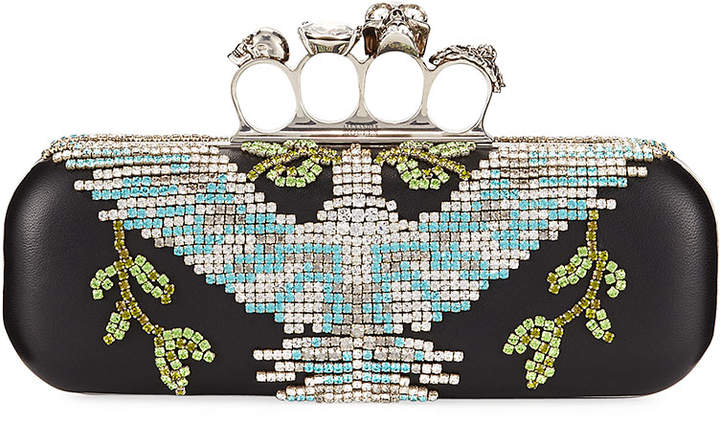 Alexander McQueen Crystal Dove Knuckle Box Clutch Bag