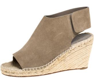 Celine Grey Suede Open Toe Espadrilles Wedge Sandals Size 37