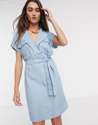 Noisy May shirt dress with tie waist in chambray blue