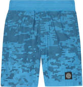 Stone Island Pixel Print Cotton Shorts 4-14 Years