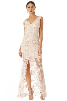 Goddiva Nude V-Neck Split Embroidered Dress