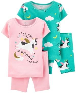 Carter's Toddler Girls Cow Snug Fit Pajamas, 4 Piece