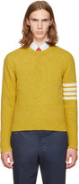 Thom Browne Yellow Classic Mohair Crewneck Pullover