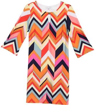 Sandra Darren Chevron Keyhole 3/4 Sleeve Sheath Dress