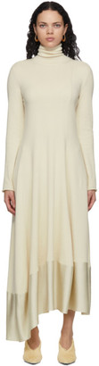 Jil Sander Off-White Asymmetric Hem Dress