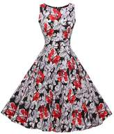 Lecimo Vintage 1950's Floral Summer Spring Garden Party Picnic Cocktail Dress ( ,Size XL)