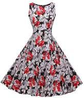 Lecimo Vintage 1950's Floral Summer Spring Garden Party Picnic Cocktail Dress (,Size XXXL)