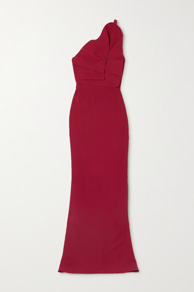Thumbnail for your product : Roland Mouret Warrington One-shoulder Ruffled Cady Gown - Red