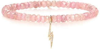 Sydney Evan Exclusive to Mytheresa Beaded bracelet with 14kt yellow gold and diamond lightning bolt
