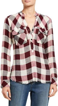 Rails Redding Plaid Button-Front Shirt w/ Frayed Hem