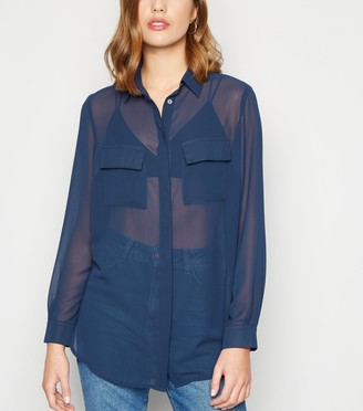 New Look Chiffon Utility Pocket Shirt