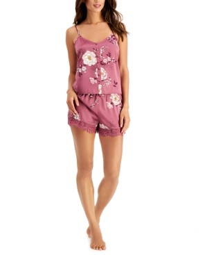 INC International Concepts Inc Floral-Print Cami & Shorts Pajama Set, Created for Macy's