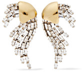 Saint Laurent Gold And Silver-plated Crystal Clip Earrings - one size