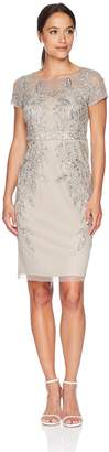 Adrianna Papell Women's Petite Leafy Beaded Short Sleeve Sheath Dress