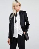 Helene Berman Longline Blazer in Textured Black