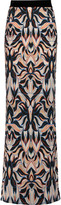 Just Cavalli Printed crepe de chine maxi skirt