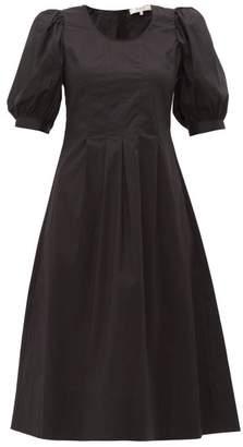 Sea Luna Puffed-sleeve Cotton-blend Dress - Womens - Black