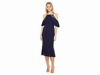 London Times Women's Cold Shoulder Square Neck Midi Crepe Sheath Dress