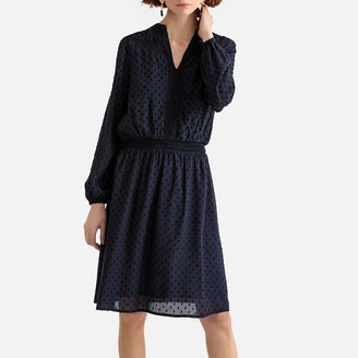 La Redoute Collections Dotted Long-Sleeved V-Neck Dress
