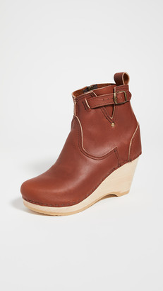 NO.6 STORE Leather Wedge Buckle Boots