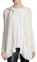 ATM Anthony Thomas Melillo Hooded Oversize Button-Front Cardigan Sweater, Cream