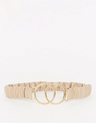 ASOS DESIGN ruched double circle waist belt in beige