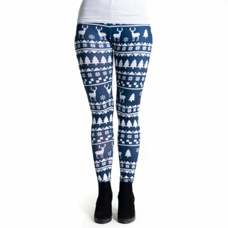 cosey - Printed Colorful Leggings (one Size) - Design Blue Chirstmas
