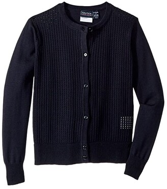 Nautica Pointelle Cardigan (Little Kids) (Su Navy) Girl's Sweater