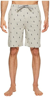 Polo Ralph Lauren Knit Sleep Shorts (Andover Heather/Cruise Navy AOPP) Men's Pajama