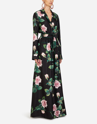Dolce & Gabbana Tropical Rose Print Twill Suit