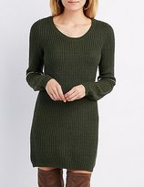 Charlotte Russe Shaker Stitch Zipper-Trim Sweater Dress