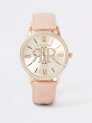 River Island Diamante Embossed PU Strap Watch - Light Pink