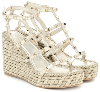 Valentino Torchon Cage leather wedge sandals