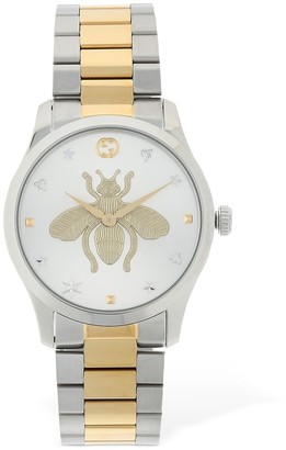 Gucci 38mm G Timeless Two Tone Bee Motif Watch