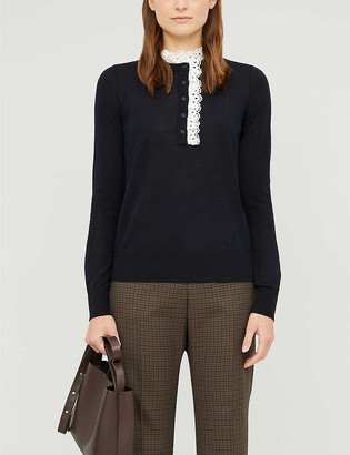Sandro Colane crochet-trim wool, silk and cotton-blend jumper