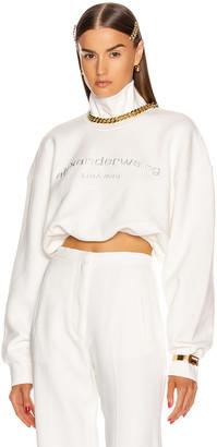 Alexander Wang Cropped Mock Neck Sweatshirt in White | FWRD