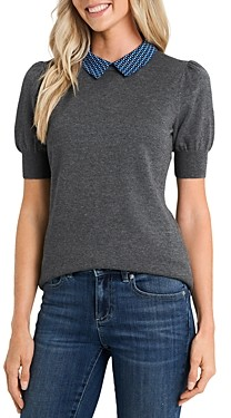 CeCe Geometric Print Puff Sleeve Sweater
