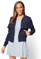 New York & Co. Ruffled Poplin Bomber Jacket